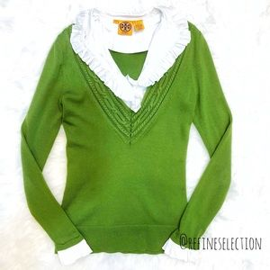 Tory Burch Green Ruffle Neck Cable Knit Sweater